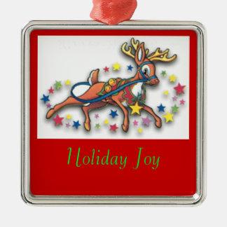 Dancing Reindeer red Christmas Ornament
