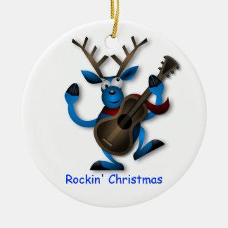 Dancing Reindeer with Guitar Rockin' Christmas Ceramic Ornament