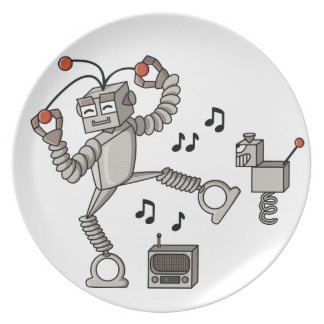Dancing robot melamine plate