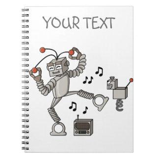 Dancing robot spiral notebook