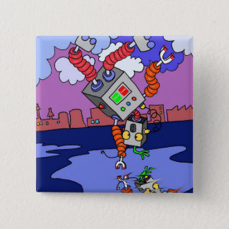 Dancing Robot Square Badge for party favors Button