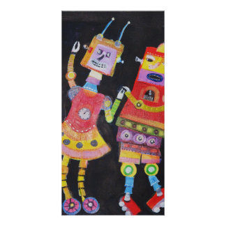 Dancing Robots Custom Photo Card