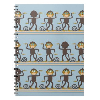 Dancing safari pattern, boys, blue notebook