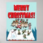 Dancing Santa and Reindeers Posters