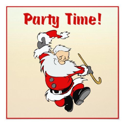 """Dancing Santa Christmas Invite 5.25"""" Square Invitation Card"""