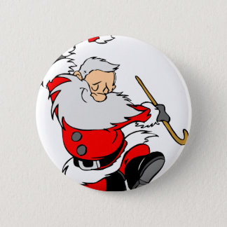 Dancing Santa Claus on Christmas Pinback Button