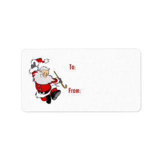 Dancing Santa Gift Tag Personalized Address Labels
