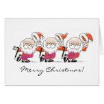 Dancing Santas greeting card