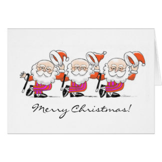 Dancing Santas greeting card