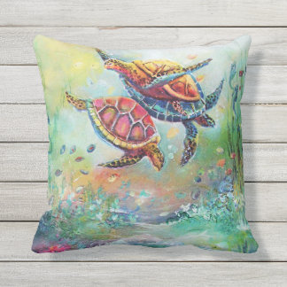 Dancing Sea Turtles Outdoor Pillow