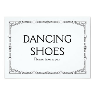 """Dancing Shoes"" Art Deco Style Wedding Sign Card"