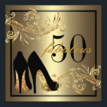 "Dancing Shoes - Fabulous 50th Birthday Invitation<br><div class=""desc"">If you need custom colors or assistance in creating your invitation,  feel free to contact me at zazzlepartydepot@gmail.com. I look forward to hearing from you!</div>"