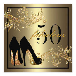 Gold and black 50th birthday invitations announcements zazzle dancing shoes fabulous 50th birthday invitation filmwisefo Images