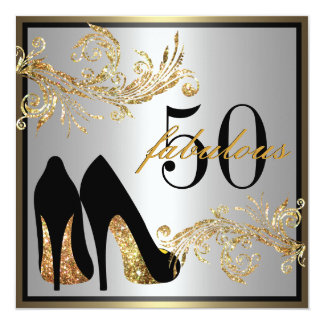 "Dancing Shoes - Fabulous 50th Birthday Invitation 5.25"" Square Invitation Card"