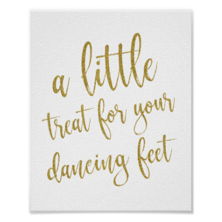 Dancing Shoes Shoes Gold Glitter 8x10 Wedding Sign