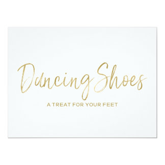 """Dancing Shoes"" Stylish Golden Wedding Sign Card"
