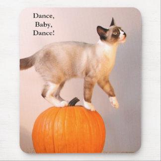 Dancing Siamese Cat on Pumpkin Humorous Funny Mouse Pad