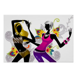 Dancing Silhouette Girls Poster