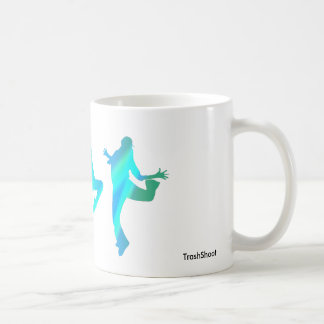 Dancing silhouettes on mug in blue hues