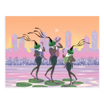 Dancing Singing Party Frogs Postcard