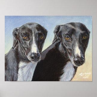 Dancing Sisters Greyhound Dog poster