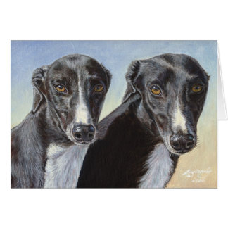 Dancing Sisters Greyhound Whippet Dog Painting Card