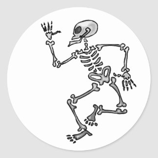 Dancing Skeleton Classic Round Sticker