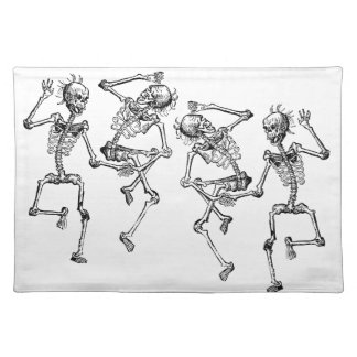 Dancing Skeleton Dance Party Day of the Dead Bones Cloth Placemat
