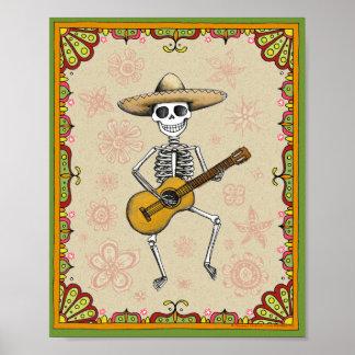 Dancing Skeleton Dia de los Muertos poster print