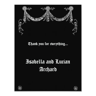 Dancing Skeleton Garland Goth Thank You card Personalized Announcements
