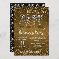 Dancing Skeleton Gold Glitter Halloween Party Invitation