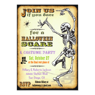Dancing Skeleton Halloween Party Invitations