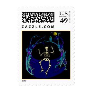 Dancing Skeleton Halloween Stamps Creepy Tree Moon
