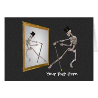 Dancing Skeleton In Mirror Funny Photo Card