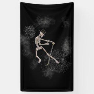 Dancing Skeleton in Top Hat Halloween Banner