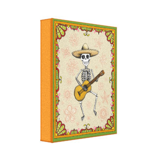 Dancing Skeleton Playing Guitar Stretched Canvas Prints