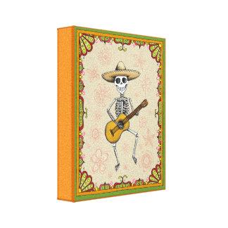 Dancing Skeleton Playing Guitar Canvas Print