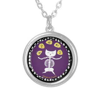 Dancing Skeleton Round Pendant Necklace