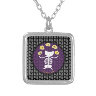 Dancing Skeleton Square Pendant Necklace