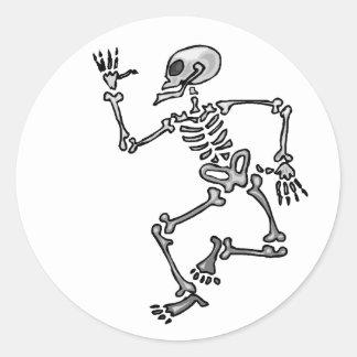 Dancing Skeleton Classic Round Sticker