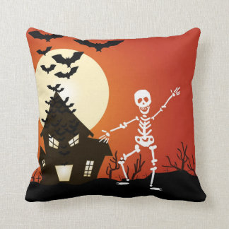 Dancing skeleton throw pillow