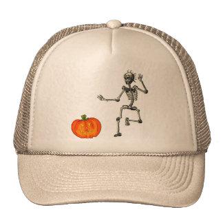 Dancing Skeleton with Jack O'Lantern for Halloween Trucker Hat