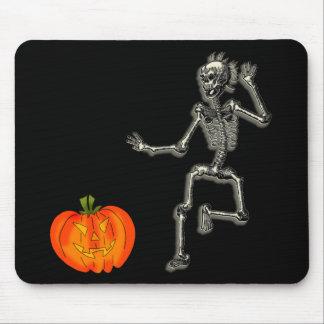 Dancing Skeleton with Jack O'Lantern for Halloween Mousepads