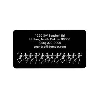 Dancing Skeletons Black Address Label