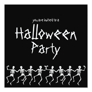 "Dancing Skeletons Black Halloween Party Invite 5.25"" Square Invitation Card"