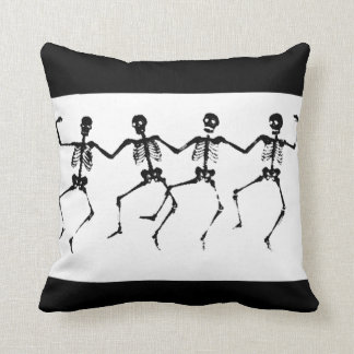 Dancing Skeletons (blacknwhite) Throw Pillow