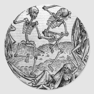 Dancing skeletons, 'Dance of Death' Classic Round Sticker