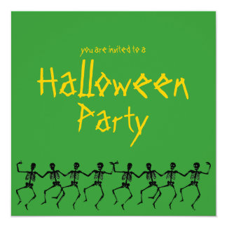 """Dancing Skeletons Green Halloween Party Invite 5.25"""" Square Invitation Card"""