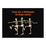"Dancing Skeletons Halloween Birthday Party Invite 5"" X 7"" Invitation Card"
