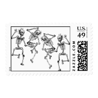 Dancing Skeletons Halloween Day of the Dead Death Stamps